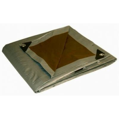 Ponyva, takaróponyva, Ezüst-barna, 4x5m, UV-álló, 210gr/m2